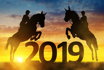 Silhouette the riders on the horse jumping into the New Year 2019 at sunset.