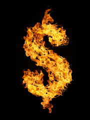 Dollar sign from fire flame isolated on black background.
