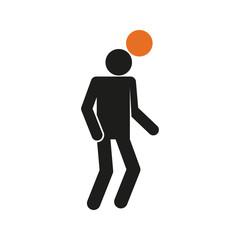 Simple Heading Football Soccer Sport Figure Symbol Vector Illustration