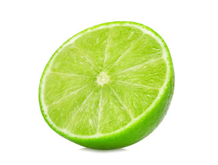 half of fresh lime isolated on white background, flat lay, top view