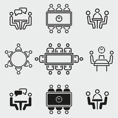 Conference icons set.