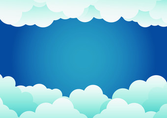 paper art style cloud background blue .vector illustration