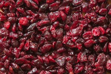dried cranberries close-up texture background