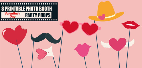Happy Valentines day or hipster style photo booth props vector illustration