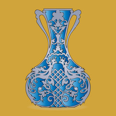 Vase silhouette (blue), ornate, with peacock pattern, on light brown background