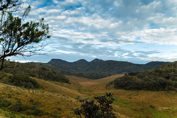 Mountains Landscape. Hills skyline Worlds End in Horton Plains National Park Sri Lanka.