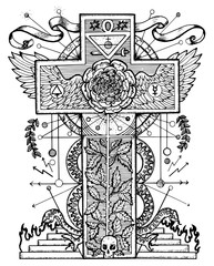 Graphic mystic illustration with cross and rose. Fantasy and secret societies emblem, occult and spiritual mystic drawings. Tattoo design, new world order.
