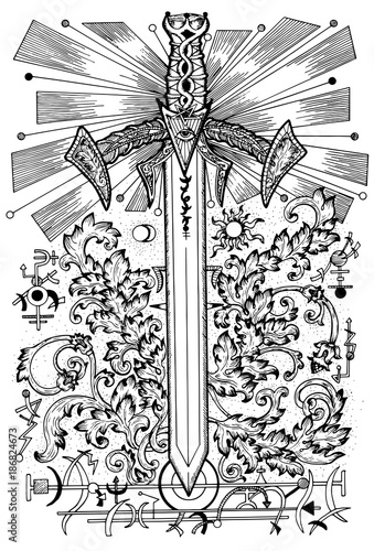 Graphic Illustration With Sword And Mysterious Symbols Fantasy And