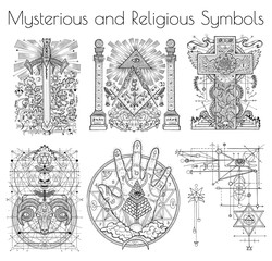 Design collection with graphic illustration of mystic and religious organizations. Freemasonry and secret societies emblems, occult and spiritual mystic drawings. Tattoo design, new world order.
