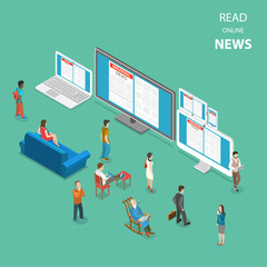 Online news flat isometric vector concept. People are reading live news using all most popular kinds of devices for access to internet.