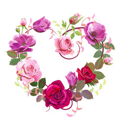 Heart of flowers. Valentine's Day card. Red, pink roses, purple anemones, green twigs, buds, leaves on white background. Digital draw, concept for design in watercolor style, vector