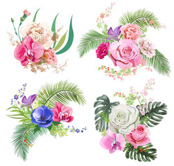 Collection bouquets of tropical flowers: pink rose, red carnation, purple orchid, blue anemone, leaves of coconut palm, twigs and berries. Digital draw in watercolor style, concept for design, vector