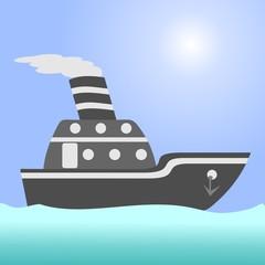 Ship. Сargo ship in the open ocean.