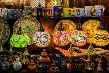 Traditional Souvenirs and Lanterns Inside Souk Madinat Jumeirah