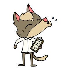 howling office wolf cartoon