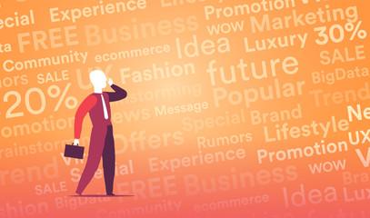 Venditore che comunica con messaggi di marketing