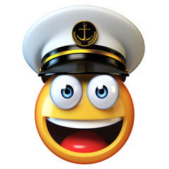Marines hat emoji isolated on white background, admiral emoticon wearing navy cap  3d rendering