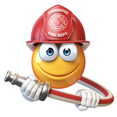Fireman emoji isolated on white background, firefighter emoticon 3d rendering