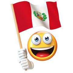 Emoji holding Peruvian flag, emoticon waving national flag of Peru 3d rendering