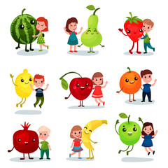 Cute little kids having fun and hugging giant fruits, best friends, healthy food for children cartoon vector Illustrations