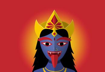 Kali in portrait style, vector