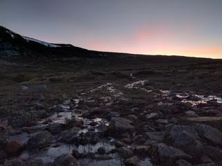 Sun is down at hardangervidda