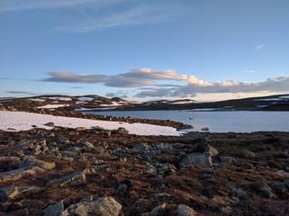The sun setting at Hardangervidda