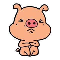 cartoon angry pig sat waiting