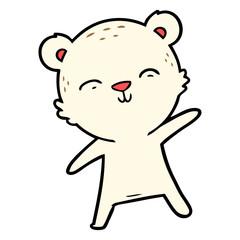 happy cartoon polar bear pointing