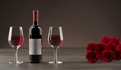 3D Rendering Of Bottle Of Wine With Two Glasses Next to It And A Red Rose Bouquet On Wooden Surface And Dark Background
