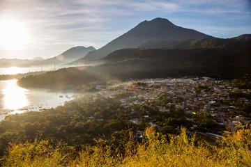 Aerial Drone view of San Juan La Laguna on Lake Atitlan, Guatemala