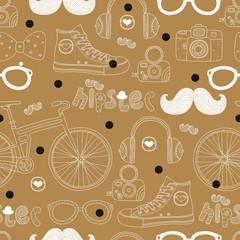 Gold hipster motif. Vector seamless pattern.