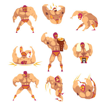 Set of professional muscular wrestler in different actions. Mixed martial artist. Combat sport. Strong man character in mask and sports shorts. Flat vector design