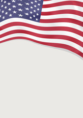 Leaflet design with flag of United States of America. Vector template.