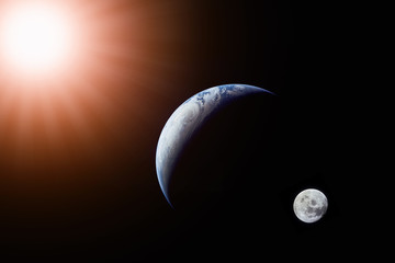 Wall Mural - Landscape image of Sun, Earth and moon view from space. (Elements of this image furnished by NASA)