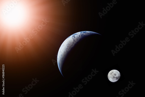 Wall mural Landscape image of Sun, Earth and moon view from space. (Elements of this image furnished by NASA)