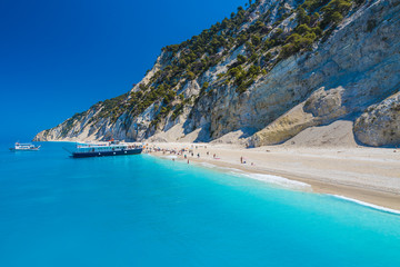 Wall Mural - gremni beach on the Ionian sea, Lefkada island, Greece.