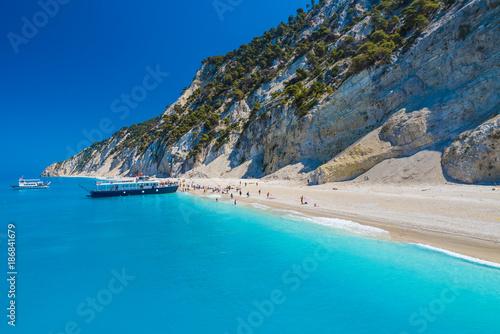 Wall mural gremni beach on the Ionian sea, Lefkada island, Greece.