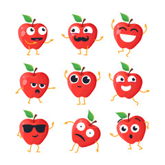 Funny apples - vector isolated cartoon emoticons