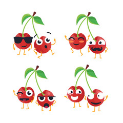 Funny cherries - vector isolated cartoon emoticons