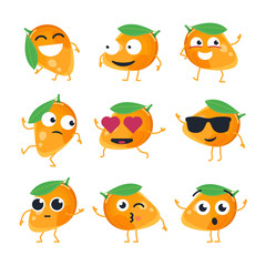Funny mango - vector isolated cartoon emoticons