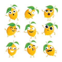 Funny lemon - vector isolated cartoon emoticons
