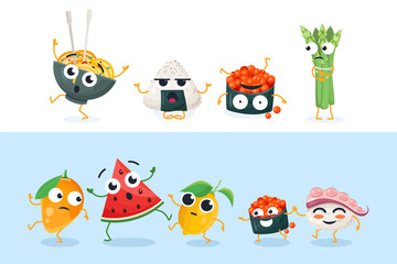 Funny sushi and fruit characters - set of vector isolated illustrations