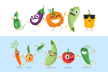 Funny vegetable characters - set of vector isolated illustrations