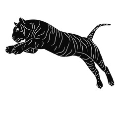 vector, isolated silhouette of a tiger jumping