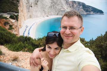 Couple Making Selfie with Sea View