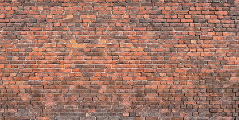 old brick wall Background, texture of red brickwork.