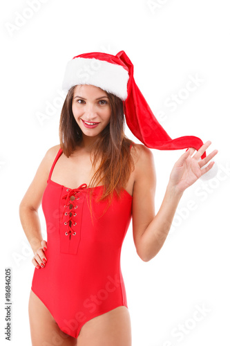 Christmas One Piece Swimsuit.Beautiful Girl Wearing A Red One Piece Swimsuit And A