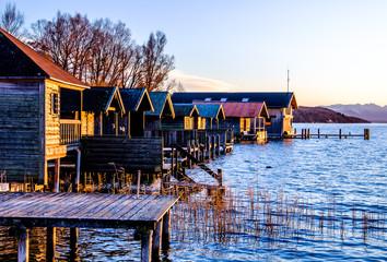 Huts at the starnberg lake