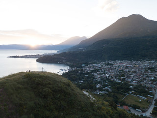 Aerial Drone view of San Juan La Laguna on Lake Atitlan, Guatemala